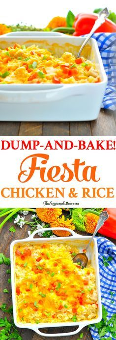 This amazingly delicious Dump-and-Bake Fiesta Chicken and Rice Bake is an easy dinner that cooks entirely in one dish — without any prep work! Easy Baked Chicken, Baked Chicken Breast, Baked Chicken Recipes, Chicken Breasts, Dump Meals, Easy Meals, Cheap Meals, Freezer Meals, Chicken Breast Recipes Dinners
