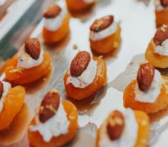 Apricot, chèvre and almond canapés.  Yum.  Jason Zachary Catering.  📷 Lee-Anne Jarrett. Posh Nosh, Hors D'oeuvres, Doughnut, Catering, Almond, Fruit, Desserts, Food, Tailgate Desserts