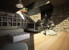 House & garden on a steep terrain on Behance Living Room Tv, Home And Living, Creative Landscape, Home And Garden, Flooring, Modern, House, Furniture, Landscapes