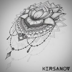 Mandala style flower drawing in pencil
