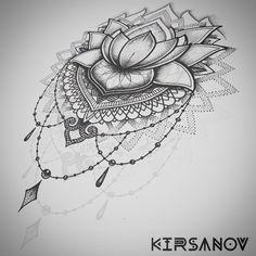 Mandala style flower drawing in pencil