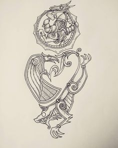 A half sleeve tattoo design with a Norse mythology theme including Fenrir, Hugin/Munin, Thor and Jörmungandr