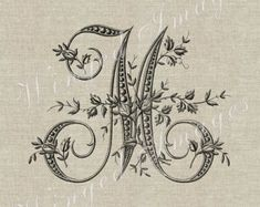 Antique French Monogram Letter Y Instant Download by WingedImages