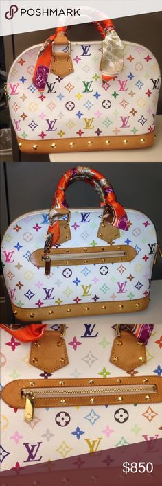 Louis Vuitton Multi colored ALMA Used but very good condition Louis Vuitton Alma PM. Clean inside and out except for the bottom showing some wears. Pls refer to photos. Handles looks good just normal wear & put a Twilly I bought here in posh. Comes with the dust bag Louis Vuitton Bags Satchels
