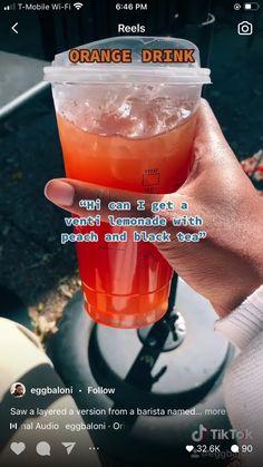Secret Starbucks Recipes, Healthy Starbucks Drinks, Starbucks Secret Menu Drinks, Yummy Drinks, Coffee Drink Recipes, Coffee Drinks, Orange Drinks, Smoothie Drinks, Smoothies