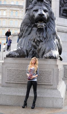 American Model Marisa Miller promotes the NFL game taking place in London this week at Trafalgar Square on October 28 2010 in London England