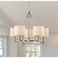 @Overstock - Indoor 5-light Antique Nickel Chandelier - Illuminate your home with this elegant five-light chandelier with a metal frame. This beautiful chandelier features light beige shades and a nickel finish. With 40 inches of chain included, the fixture can be customized to any length drop.  http://www.overstock.com/Home-Garden/Indoor-5-light-Antique-Nickel-Chandelier/5184452/product.html?CID=214117 $132.29