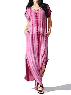 Awesome JayJay Women Casual Maxi Tie Dye Print Long Dress With Pocket
