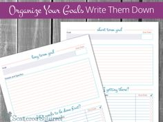 Free, printable goal setting worksheets to help you organize your goals by writing them down