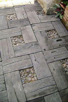 wood and peeble garden pavers