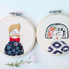 Bow tie, mustache and flowers #elenacaron #embroidery #embroideryhoop #nc #raleigh #illustration #art