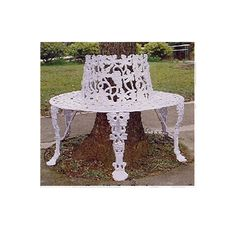 white wrought iron tree benches