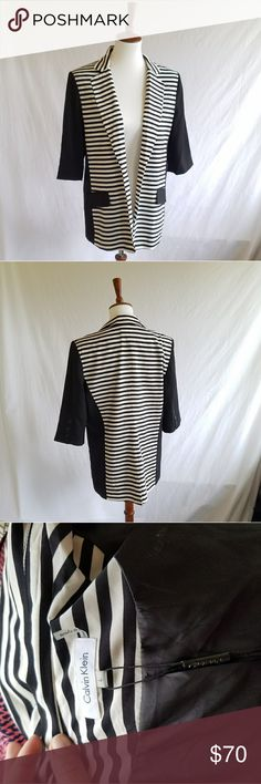 Calvin Klein Black & White Striped Blazer New with tags . 3/4 sleeve . No front closure . Lined .  #052310 Calvin Klein Jackets & Coats Blazers