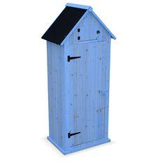 Petit abri de jardin Andelys en bois, panneaux pré-montés, livré avec plancher, cabane en bois, armoire de jardin - WS770BLU - Jardin piscine
