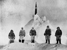 In April 1909, Admiral Robert Peary and his team (pictured here), including Inuits Ooqeah, Ooatah, Egingwah, and Seeglo and fellow American Matthew Henson, became the first explorers to reach what they believed to be the North Pole. Later studies found that Peary was actually 30 to 60 miles (50 to 100 kilometers) short of the Pole.