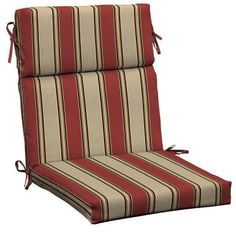 Patio Cushion Ideas - Hampton Bay Wide Chili Stripe Outdoor Dining Chair Cushion - The Home Depot Outdoor Dining Chair Cushions, Patio Cushions, Traditional Dining Chairs, Deck Decorating, High Back Chairs, Outdoor Fabric, Floor Chair, The Hamptons, Chili
