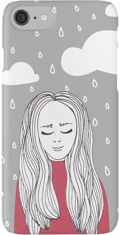 Happy girl in the rain iPhone case - illustration by Miruna Sfia