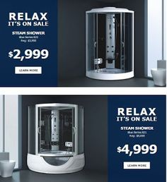 Soakbath Saskatoon Blog: Time to Get Blue with our Incredible Blue Series Steam Shower Offer