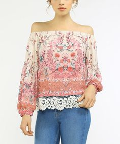 Loving this Blush & Ivory Floral Off-Shoulder Top on #zulily! #zulilyfinds