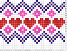 Beginning Cross Stitch Embroidery Tips - Embroidery Patterns Fair Isle Knitting Patterns, Knitting Charts, Knitting Stitches, Free Knitting, Cross Stitch Borders, Cross Stitch Patterns, Crochet Chart, Crochet Patterns, Bead Patterns