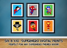 SALE 25 OFF Superhero Wall Art Superhero Posters by SewKawaiiKids