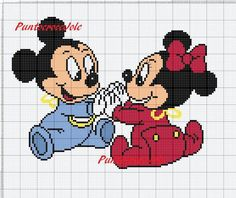 Mickey Mouse Blanket, Minecraft Crochet, Gata Marie, Disney Cross Stitch Patterns, Cross Stitch Baby, Baby Cartoon, Knitting Charts, Disney Crafts, Plastic Canvas Patterns