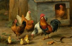 Edgar Hunt (1876-1953) —  A Cockerel with Chickens, 1910  (1000×648)