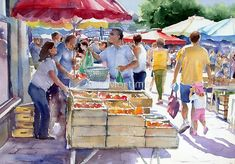 Market at Le Bugue von Ann Mortimer Human Figure Sketches, Figure Sketching, Urban Sketching, Figure Drawing, Art Watercolor, Watercolor Sketchbook, Watercolor Pictures, Painting People, Figure Painting