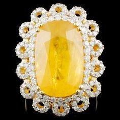 14K Gold 15.92ct Sapphire & 1.24ctw Diamond Ring