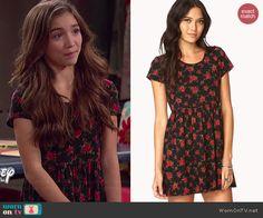 Riley's black rose printed dress on Girl Meets World.  Outfit Details: http://wornontv.net/41235/ #GirlMeetsWorld