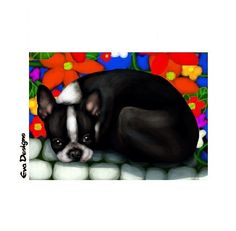 BOSTON TERRIER dog puppy garden flowers gift mini art print