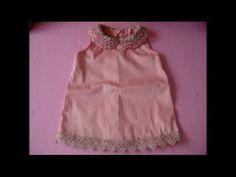 Diy vestido infantil com gola de perola com molde de 3 a 18 meses - YouTube