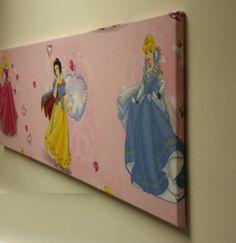 Disney pink Princess girls bedroom fabric WALL ART decor by TyneBlinds on Etsy