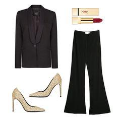 Honoring YSL: Modern Ways To Wear Le Smoking | The Zoe Report-New Modern Tuxedo, Karen Millen $336, Palazzo PAnts, Mango $70, Gold Pumps, Saint LAurent $795, Rouge Pur Couture in Saadi, Yves Saint LAurent $35