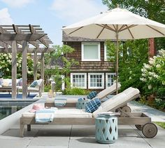 Lounge by the pool in Pottery Barn's Chatham Single Chaise in Gray. #summerliving