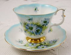 Royal Albert Blue Tea Cup and Saucer with Blue Flowers, Vintage Bone China, Teacup and Saucer, 4375