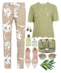 """""""Green and Nude"""" by bmaroso ❤ liked on Polyvore featuring Valentino, Gianvito Rossi, Miu Miu, Library of Flowers, Rochas, Ippolita and valentino"""
