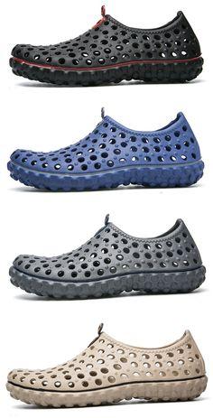 45d952fa85837 Men Soft Hollow Out Beach Sandals Outdoor Garden Shoes Casual Water Shoes  Beach Sandals