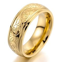 cool Mens 7mm Stainless Steel Ring Band Gold Engraved Florentine Design Charm Elegant Size9 See it here! https://steampunkvapemod.com/product/mens-7mm-stainless-steel-ring-band-gold-engraved-florentine-design-charm-elegant-size9/
