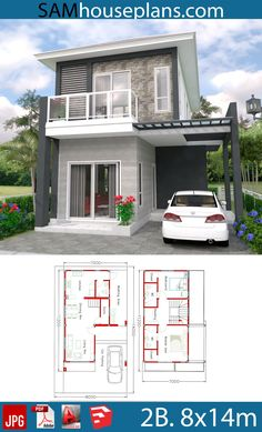 House Plans with 2 bedrooms - Sam House Plans Two Story House Design, 2 Storey House Design, Country House Design, Small House Layout, Small Modern House Plans, House Layouts, Brick House Designs, Cottage House Designs, Minimal House Design