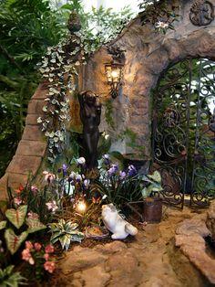 ❥ miniature garden, statue