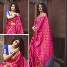 Item - 1 PC Brocade Silk Saree with unstitched Blouse. Green Base on Beige Colored Floral Brocade work on Saree. This Unique Saree Can Be Used For Various Crafting ideas Even if You Don't Want to Use It As A Saree. Beautiful Saree, Beautiful Indian Actress, Blouse Dress, Saree Blouse, Designer Silk Sarees, Buy Sarees Online, Traditional Fashion, Saree Styles, Indian Girls
