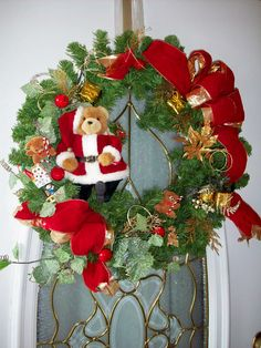 Christmas Wreath With Teddy Bear In Santa Outfit