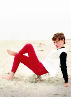 Audrey Hepburn photographed by Milton Greene in Malibu, California for Look Magazine, 1953.