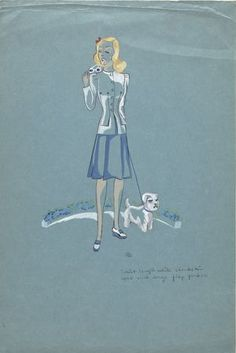"Bill Blass (American, 1922-2002), ""Sketch of a 2 pc., blue and white dress,"" date unknown; Indianapolis Museum of Art, Gift of Mr. Bill Blass, S8241.94.40"