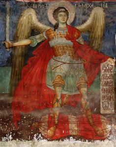 "rumelia: "" an Orthodox fresco from a church from Moscopole, today Voskopojë, Albania. Byzantine Icons, Byzantine Art, Religious Images, Religious Art, Fresco, Cemetery Angels, Angel Sculpture, Bio Art, Angel Warrior"