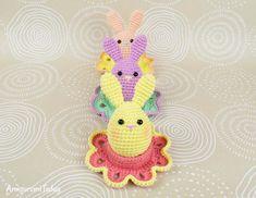 Easter bunny egg crochet pattern by Amigurumi Today Easter Crochet Patterns, Crochet Bunny, Crochet Toys, Free Crochet, Baby Patterns, Crochet Flowers, Easter Bunny Eggs, Easter Toys, Easy Amigurumi Pattern