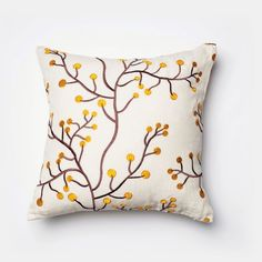 Evoking the essence of spring and even winter, this beautiful white throw pillow with golden accents help bring the seasons into your home.White Sale for $226
