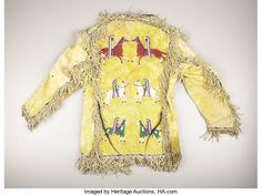 American Indian Art:War Shirts/Garments, A SIOUX PICTORIAL BEADED AND FRINGED HIDE JACKET. . c. 1890. ... American Indian Art, Native American Indians, American War, Native Americans, Mens Leather Shirt, Beaded Jacket, Indian Man, Sioux, Shirt Jacket