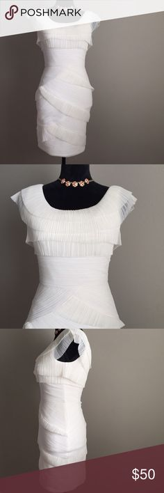 White Dress BCBG Briana Beautiful dress for a party or wedding event! Perfect condition. Zip back. Fully lined. No trades. BCBGMaxAzria Dresses
